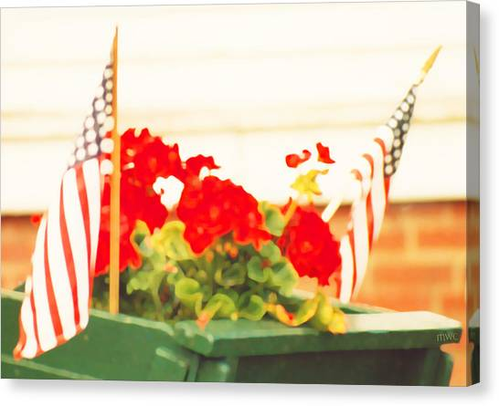 American Flags And Geraniums In A Wheelbarrow In Maine, One Canvas Print