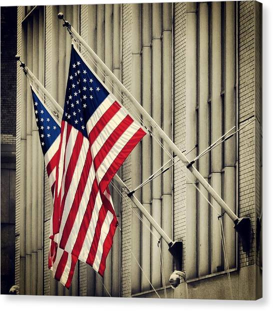 Immigration Canvas Print - American Flags by Goncalo Carreira
