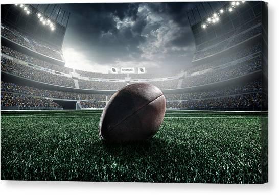 American Football Ball Canvas Print by Dmytro Aksonov