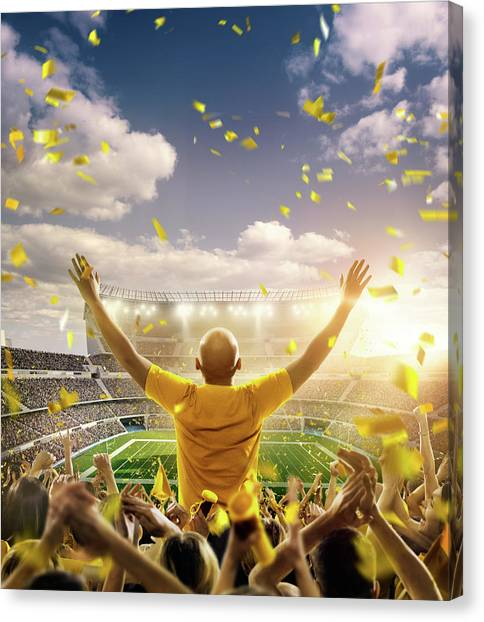 American Football Fans At Stadium Canvas Print by Dmytro Aksonov