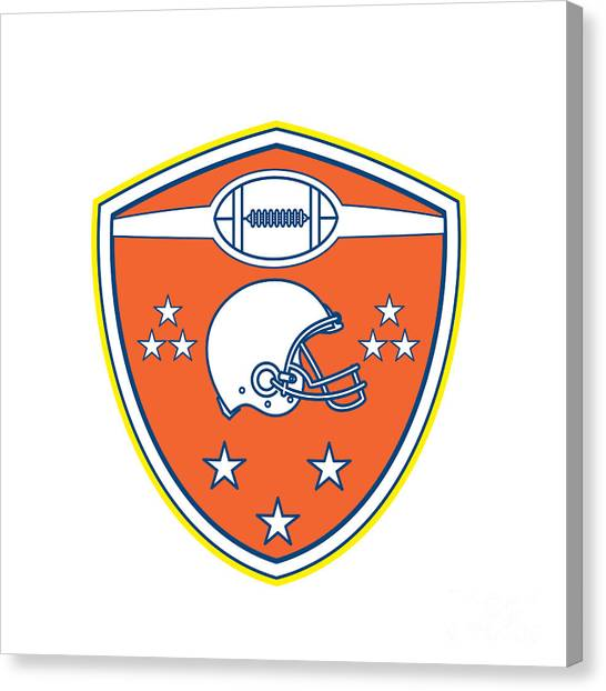 e95518cc134 American Football Helmet Stars Shield Retro Canvas Print by Aloysius  Patrimonio