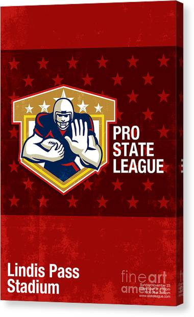 American Football Pro State League Poster Art Canvas Print by Aloysius Patrimonio