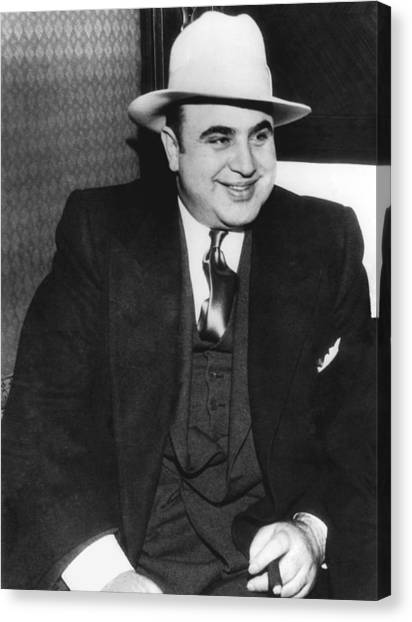 Vintage Chicago Canvas Print - American Gangster Al Capone by Underwood Archives
