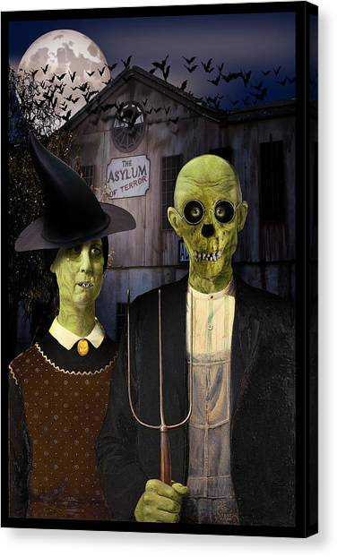 The Haunted House Canvas Print - American Gothic Halloween by Gravityx9  Designs