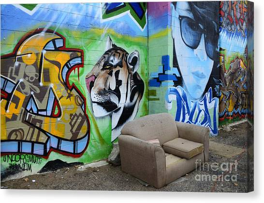 Graffiti Walls Canvas Print - American Graffiti New Mexico 1 by Bob Christopher