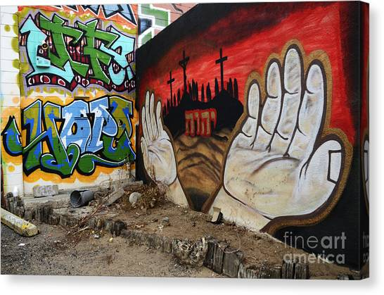 Graffiti Walls Canvas Print - American Graffiti New Mexico 2 by Bob Christopher
