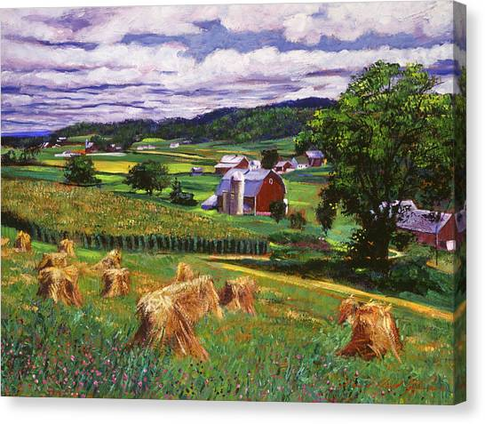 Hay Bales Canvas Print - American Heartland by David Lloyd Glover