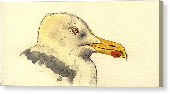 Sea Birds Canvas Print - American Herring Gull by Juan  Bosco