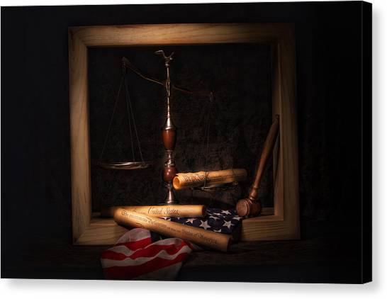 American Flag Canvas Print - American Ideals Still Life by Tom Mc Nemar