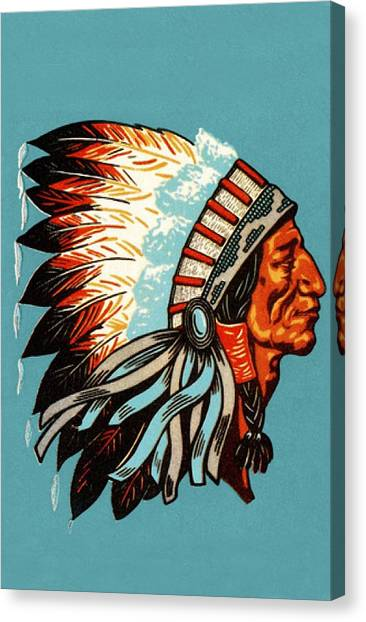 American Indian Chief Profile Canvas Print