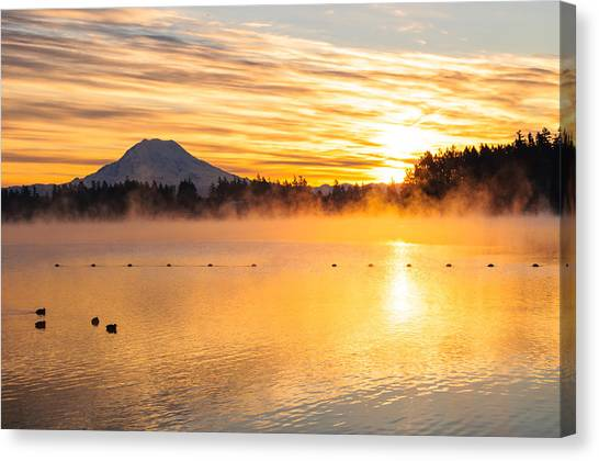 American Lake Misty Sunrise Canvas Print