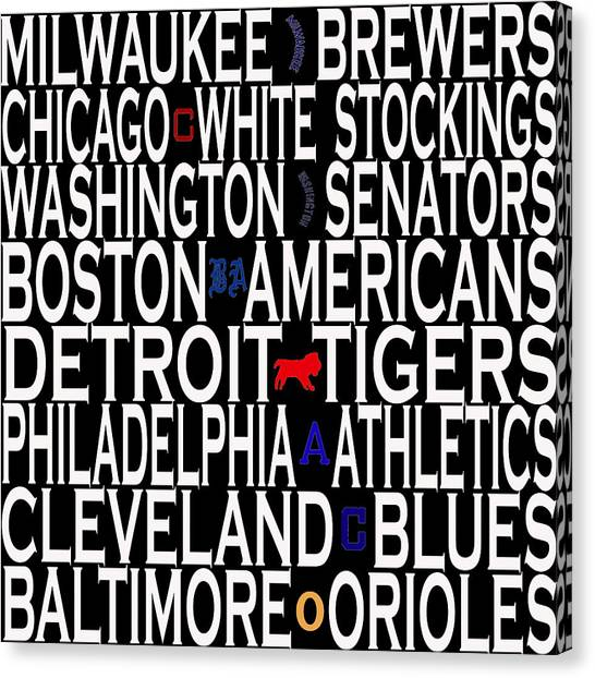 Milwaukee Brewers Canvas Print - American League Classic Eight by Andrew Fare