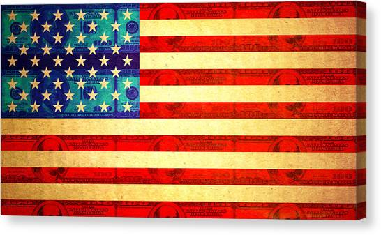 American Money Flag Canvas Print