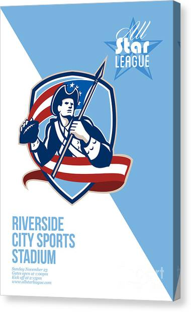 Patriot League Canvas Print - American Patriot Football All Star League Poster by Aloysius Patrimonio