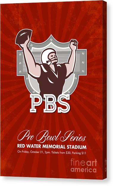 American Pro Football Bowl Retro Poster Art Canvas Print by Aloysius Patrimonio