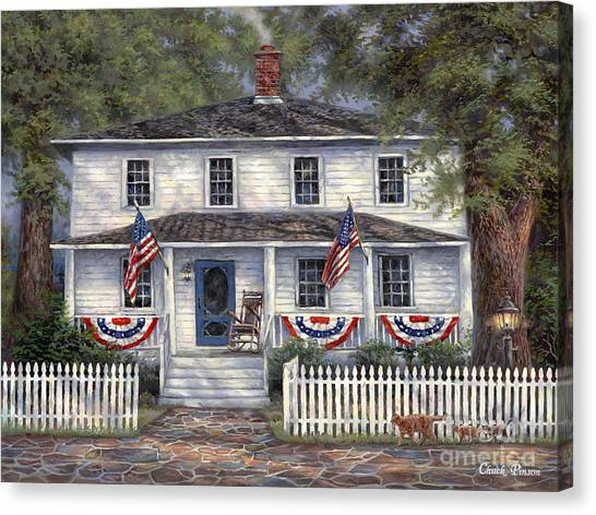 American Flag Canvas Print - American Roots by Chuck Pinson