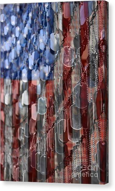 American Flag Canvas Print - American Sacrifice by DJ Florek