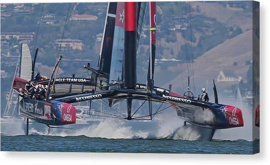 Catamarans Canvas Print - America's Cup San Francisco by Steven Lapkin