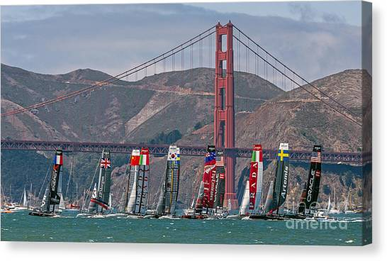 Canvas Print featuring the photograph Americas Cup Catamarans At The Golden Gate by Kate Brown