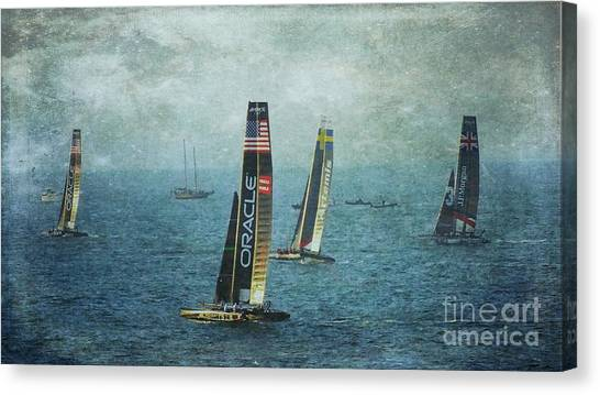 Americas Cup Racing - Oracle Canvas Print by Scott Cameron
