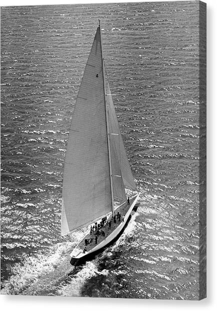 Sailing Race Canvas Print - America's Cup Rainbow Yacht by Underwood Archives