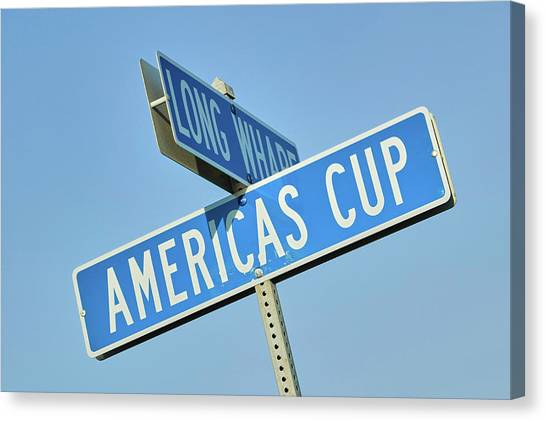 Sailing Race Canvas Print - Americas Cup Street Sign In Newport by Panoramic Images