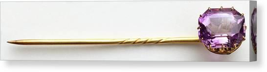 Gemstones Canvas Print - Amethyst (quartz) Tie-pin by Dorling Kindersley/uig