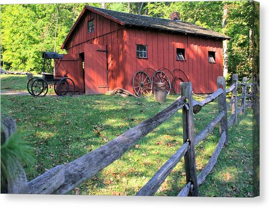 Amish Barn Along A Fenceline Canvas Print