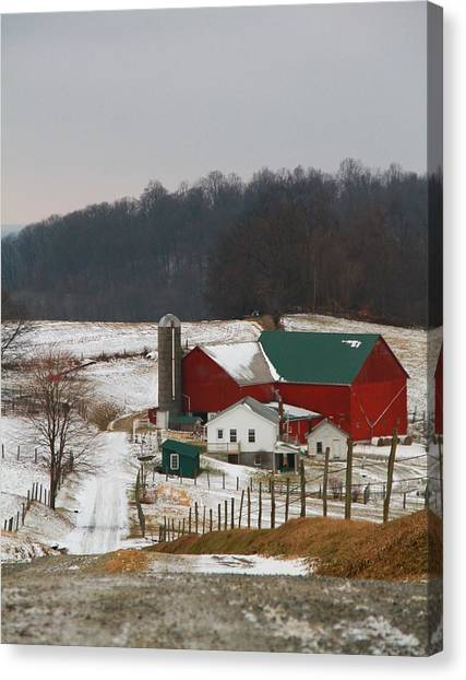 Red Barn In Winter Canvas Print - Amish Barn In Winter by Dan Sproul