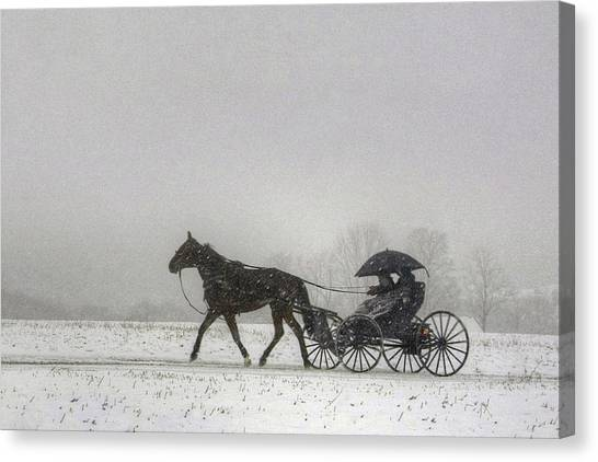 Amish Buggy Ride In The Snow Canvas Print