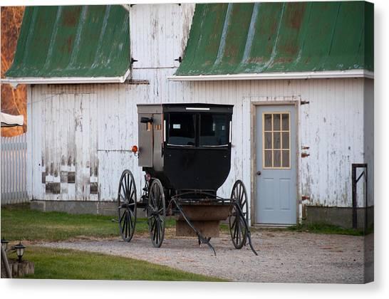 Amish Buggy White Barn Canvas Print