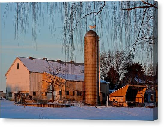 Amish Farm At Turquoise Dusk Canvas Print