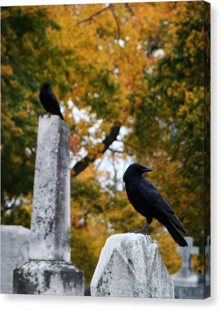 Ravens In Graveyard Canvas Print - Blackbirds Among The Autumn Colors by Gothicrow Images