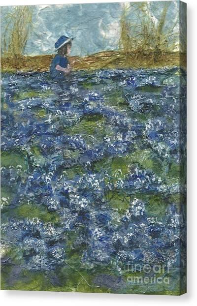 Among The Blue Bonnets Canvas Print by Lynn Babineau