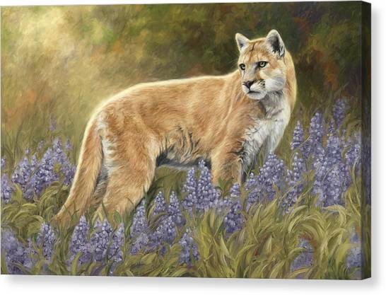 Lions Canvas Print - Among The Flowers by Lucie Bilodeau