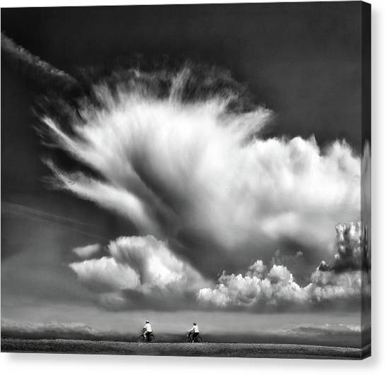 Belgium Canvas Print - Amongst The Clouds ... by Yvette Depaepe
