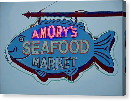 Amory Seafood Sign Canvas Print