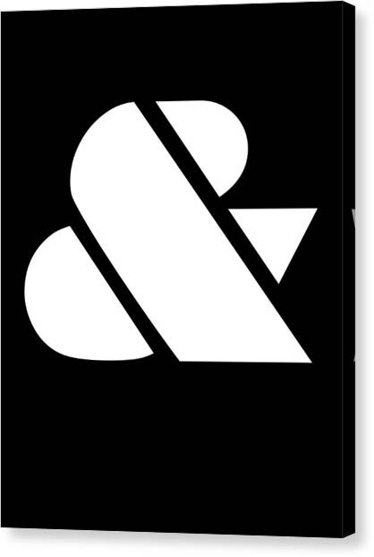 Quote Canvas Print - Ampersand Black And White by Naxart Studio