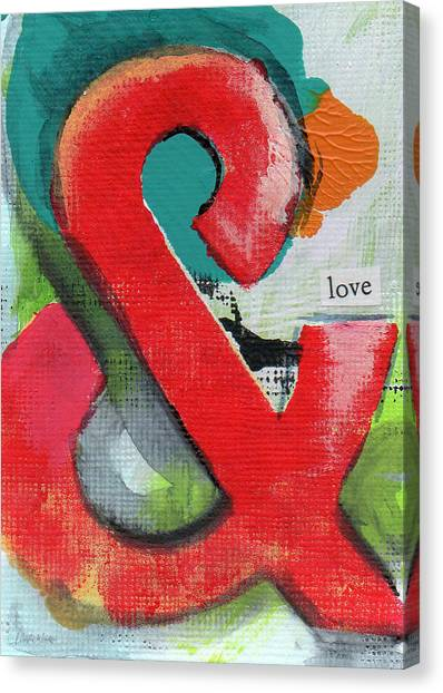 Shower Canvas Print - Ampersand Love by Linda Woods