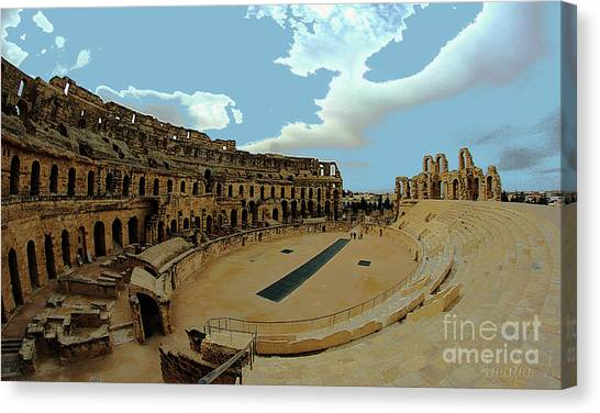 Amphitheatre Of El Jem Tunisia Canvas Print by Amalia Suruceanu