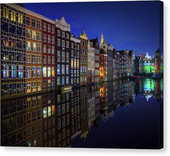 Holland Canvas Print - Amsterdam At Night 2017 by Juan Pablo De