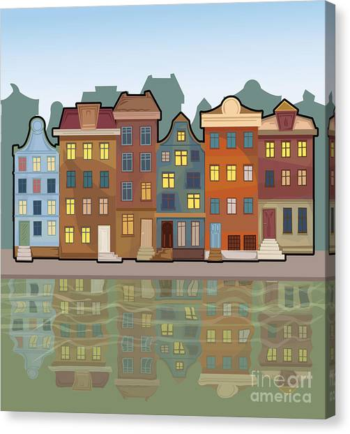 Block Canvas Print - Amsterdam City With Reflections In A by Marijapiliponyte