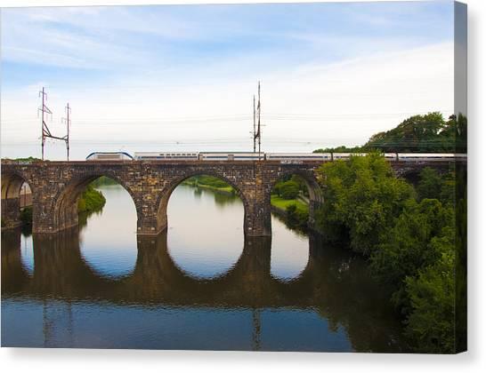 Amtrak Canvas Print - Amtrak Train On Columbia Railroad Bridge Over The Schuylkill River by Bill Cannon