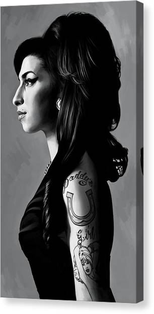 Amy Winehouse Artwork  2 Canvas Print by Sheraz A