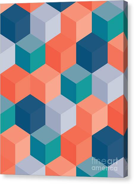 Block Canvas Print - An Abstract Geometric Vector Background by Mike Taylor