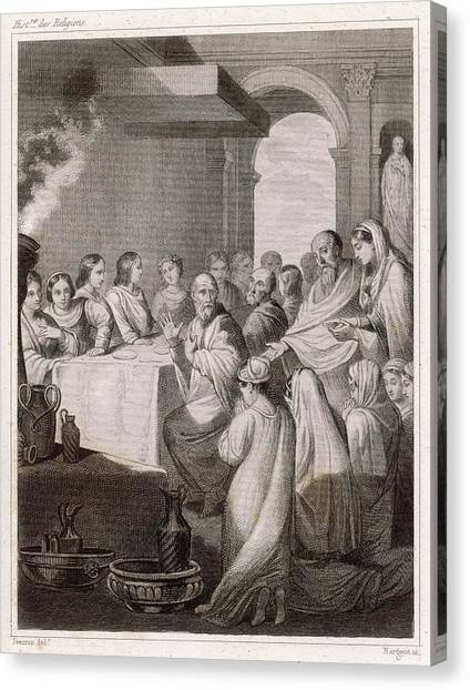 Early Christian Art Canvas Print - An Agape, Or 'love-feast'  Of The First by Mary Evans Picture Library