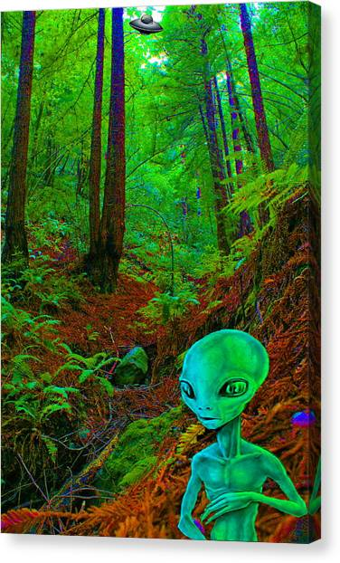 An Alien In A Cosmic Forest Of Time Canvas Print