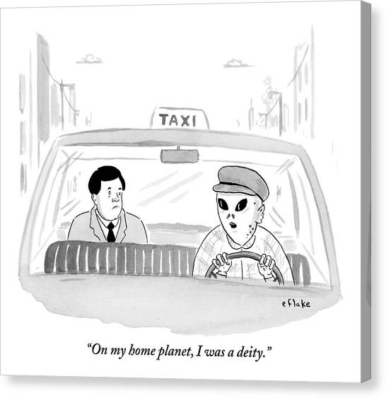 Immigration Canvas Print - An Alien Is Driving A Taxi And The Passenger by Emily Flake