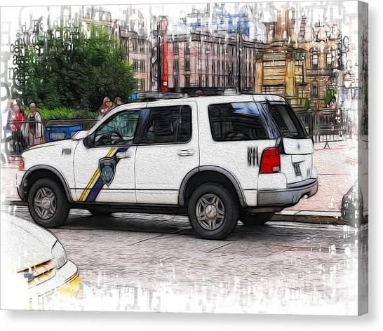 World War Z Canvas Print - An American Polis Car In Glasgow by Fiona Messenger