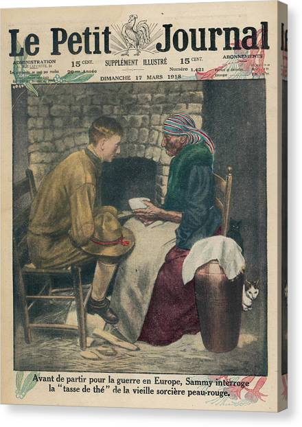 Tea Leaves Canvas Print - An American Soldier Consults A  Native by Mary Evans Picture Library